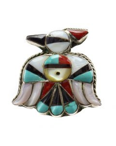 Zuni Multi-Stone Channel Inlay and Silver Thunderbird Ring c. 1960s, size 7.5 (J12874)