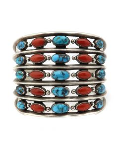 Kenneth Begay (1913-1977) - Navajo Turquoise, Coral, and Silver Row Bracelet c. 1960s, size 7 (J12878)