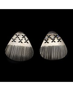 "Linda Peshlakai (b. 1950) - Navajo Contemporary Silver Post Earrings, 1.25"" x 1.125"" (J12893)"
