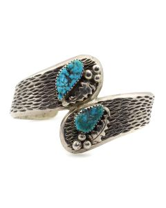 Joe Chee - Navajo Turquoise and Silver Bracelet with Floral Design c. 1960s, size 6 (J12911)
