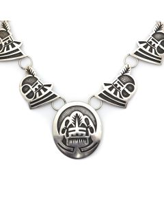 "Fermin Hawee - Hopi Contemporary Silver Overlay Necklace with Kachina Design, 23"" length (J12923)"