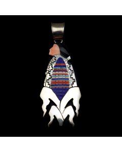 "Richard Begay - Navajo Multi-Stone Inlay and Sterling Silver Pendant with Cornstalk Design c. 1990-2000s, 4"" x 1.5"" (J12925)"