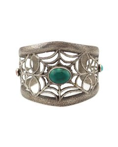 Joel Pajarito - Turquoise, Coral, and Silver Sandcast Bracelet with Spiderweb Design c. 2000s, size 6.75 (J12932)