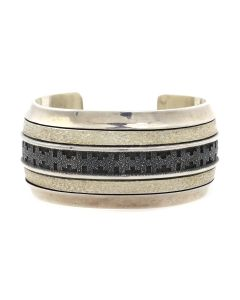 Alfred Joe - Navajo Sterling Silver Bracelet with Overlay Design c. 1990s, size 6.25 (J12933)