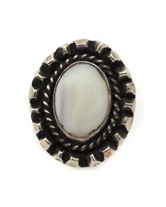 Navajo Mother of Pearl and Silver Ring c. 1950s, size 5.25 (J12937)