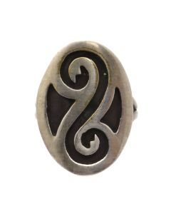 Hopi Silver Overlay Ring c. 1960s, size 6.75 (J12938)