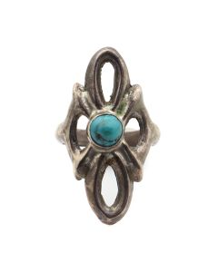 Navajo Turquoise and Silver Sandcast Ring c. 1960s, size 8 (J12939)