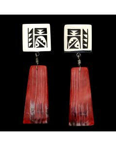 "Timmy Yazzie - Navajo/San Felipe Contemporary Spiny Oyster and Sterling Silver Overlay Post Earrings, 1.75"" x 0.75"" (J12944)"
