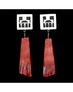 Timmy Yazzie - Navajo/San Felipe Contemporary Spiny Oyster and Sterling Silver Overlay Post Earrings (J12945)