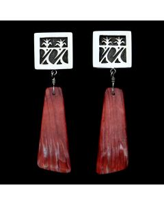 Timmy Yazzie - Navajo/San Felipe Contemporary Spiny Oyster and Sterling Silver Overlay Post Earrings (J12946)