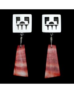 Timmy Yazzie - Navajo/San Felipe Contemporary Spiny Oyster and Sterling Silver Overlay Post Earrings (J12950)