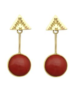 "Mark Sublette Collection - Featuring Sam Patania - Coral, 22K Gold, and 18K Gold Post Earrings, 2"" x 0.75"" (J12957)"