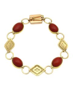 Mark Sublette Collection - Featuring Sam Patania - Coral, 22K Gold, and 18K Gold Link Bracelet, size 7 (J12964)