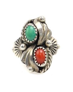 Clyde Davis - Navajo Turquoise, Coral, and Silver Ring c. 1960s, size 5.5 (J12975)