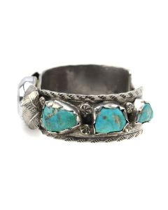 Navajo Turquoise and Silver Watch Band with Floral Design c. 1960-70s, size 5.75 (J12980)