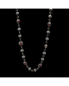 "Lee Yazzie (b. 1946) - Navajo Coral and Silver Beaded Necklace c. 2000s, 38"" length (J12986)"