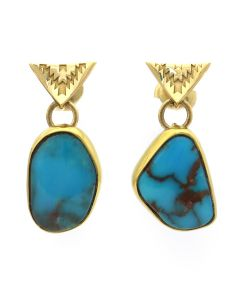 "Mark Sublette Collection - Featuring Sam Patania - Bisbee Turquoise, 22K Gold, 18K Gold, and Sterling Silver Post Earrings, 1.25"" x 0.5"" (J12993)"
