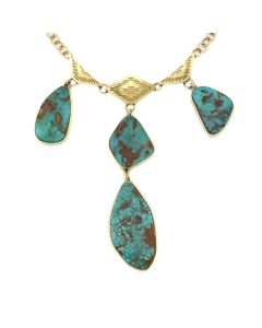 "Mark Sublette Collection - Featuring Sam Patania - Pilot Mountain Turquoise, 18K Gold, and Sterling Silver Necklace with Handmade Chain, 3.75"" x 1"" pendant, 18"" long (J13000)"