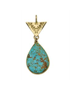 "Mark Sublette Collection - Featuring Sam Patania - Number 8 Turquoise, 22K Gold, and Sterling Silver Pendant, 1.875"" x 0.75"" (J13001)"