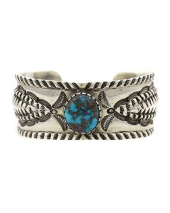 Ernie Lister - Navajo Bisbee Turquoise and Silver Bracelet with Stamped Design c. 2015-2017, size 7 (J13014)