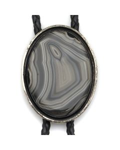 "Frank Patania Jr. and Thunderbird Shop - Agate, Sterling Silver, and Leather Bolo Tie c. 1950s, 2.25"" x 1.75"" (J13026)"