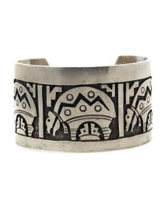 Hopi Sterling Silver Overlay Bracelet with Bear Design c. 1960s, size 7 (J13028)