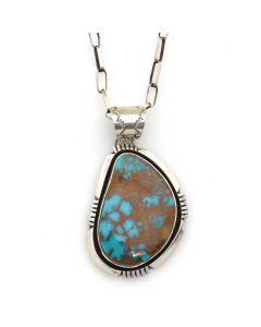 "Etta Endito - Navajo Contemporary Pilot Mountain Turquoise and Silver Pendant with Handmade Chain, 2"" x 1.25"" pendant (J13033)"
