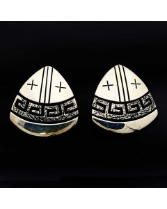 "Jack Tom (b. 1948) - Navajo Silver Overlay Post Earrings c. 2000s, 1.125"" x 1.125"" (J13036)"