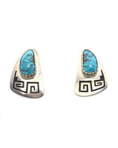 "Philbert Poseyesva (b. 1958) - Hopi Turquoise and Silver Overlay Post Earrings c. 1990s, 1.375"" x 0.875"" (J13038)"