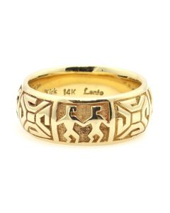 Melanie Kirk (b. 1971) - Isleta/Navajo Contemporary 14K Gold Overlay Ring, size 9 (J13036)
