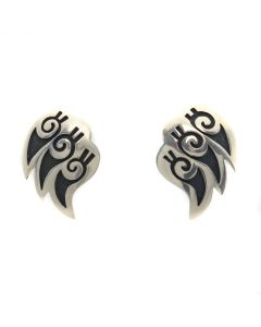 "Gordon Honyestewa - Hopi Silver Overlay Post Earrings c. 1990s, 1.25"" x 1"" (J13046)"