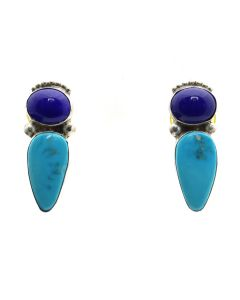 "Martha and Gene Jackson - Navajo Turquoise, Lapis Lazuli, and Sterling Silver Post Earrings c. 2000s, 1.375"" x 0.5"" (J13050)"