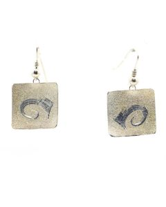 "Howard Sice (b. 1948) - Hopi/Laguna Contemporary Silver Sandcast Hook Earrings, 1.25"" x 0.75"" (J13052)"