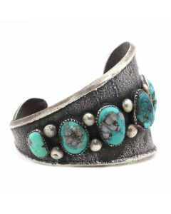 Navajo Turquoise, Coral, and Silver Sandcast Asymmetrical Bracelet c. 1960s, size 6.25 (J13060)