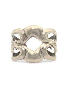 Navajo Silver Sandcast Bracelet c. 1960s, size 6.5 (J13061)