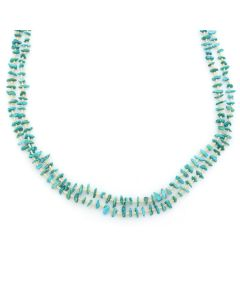 "Santo Domingo (Kewa) 2-Strand Beaded Turquoise and Heishi Necklace c. 1990s, 30"" length (J13064)"