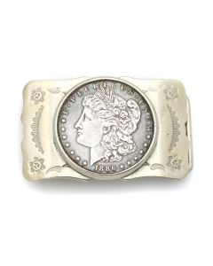 "Bell Trading Post - Navajo 1886 Morgan Dollar Belt Buckle c. 1960s, 1.5"" x 2.5"" (J13067)"