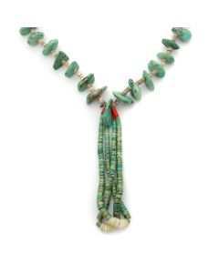 "Navajo Turquoise and Heishi Necklace with Jocla Pendants c. 1950s, 28"" length (J13068)"