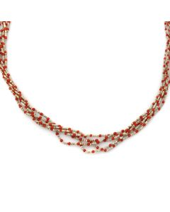 "Navajo 5-Strand Coral and Heishi Necklace c. 1960s, 28"" length (J13070)"