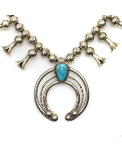 """Lucion Koinva - Hopi Turquoise and Sterling Silver Squash Blossom Necklace c. 1980s, 26"""" length (J13072)"""