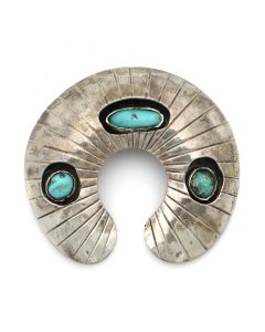 "Navajo Turquoise and Silver Naja Pin/Pendant with Shadowbox Design c. 1950s, 2.625"" x 2.875"" (J13077)"