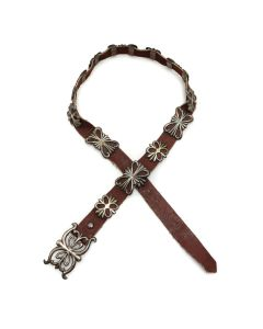 "Navajo Silver Sandcast and Leather Belt c. 1950s, 33"" x 38"" waist (J13078)"