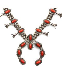 """Navajo Coral and Silver Squash Blossom Necklace c. 1970s, 27"""" length (J13079)"""