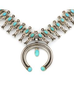 "Navajo Turquoise and Silver Squash Blossom Necklace with Stamped Designs c. 1930s, 25"" length (J13080)"