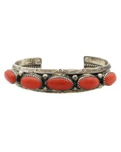 Irene Tsosie and Atkinson's Trading Post - Navajo Coral and Silver Bracelet with Stamped Design c. 1970s, size 6.5 (J13081-CO)