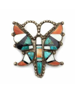 """Zuni Multi-Stone Inlay and Silver Butterfly Pin c. 1940s, 2.5"""" x 2.25"""" (J13086-CO)"""