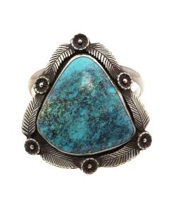 Navajo Morenci Turquoise and Silver Bracelet with Floral Design c. 1950s, size 6.25 (J13095-CO)