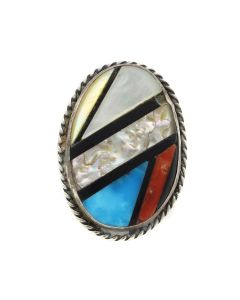Zuni Multi-Stone Inlay and Silver Ring c. 1970s, size 4.75 (J13102-CO)