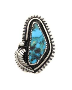 Navajo Turquoise and Silver Ring with Floral Design c. 1960s, size 7 (J13103-CO)