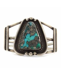 Navajo Morenci Turquoise and Silver Bracelet c. 1940-50s, size 5.75 (J13110-CO)